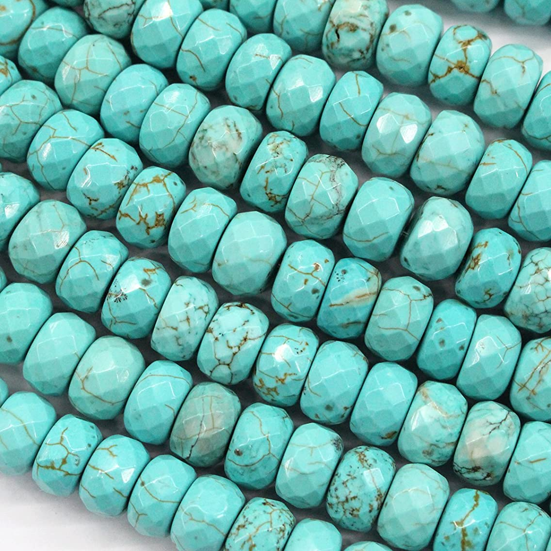 Natural Blue Turquoise Rondelle Gemstones Loose Beads Findings Jewerlry Making (faceted 8*12mm)