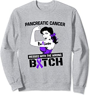Purple Ribbon Pancreatic Cancer Awareness Believe Quote Sweatshirt