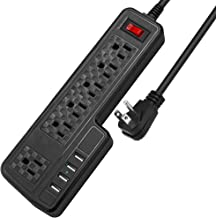 Mountable Surge Protector Power Strip JACKYLED 9.8ft 6 Outlets 4 USB Ports Electric Power Outlet with Right Angle Flat Plu...