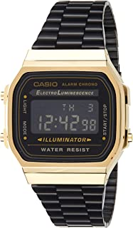 Casio Unisex-Adult Quartz Watch, Digital Display and Stainless Steel Strap A168WEGB-1BDF