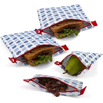 Nordic By Nature 4 Pack - Reusable Sandwich Bags Dishwasher Safe BPA Free - Durable Washable Quick Dry Cloth Baggies -Reusable Snack Bags For Kids School Lunches - Easy Open Zipper - (Apple Pattern)