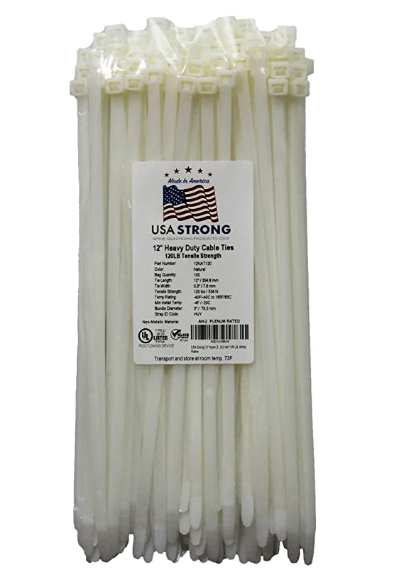 Heavy Duty Cable Ties, Premium Zip Ties for Cable Management - 120 LB Tensile Strength Nylon (12 Inch 100 Pack, White)