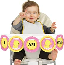 Big Dot of Happiness Pink Ducky Duck 1rst Birthday Highchair Decor - I Am One - First Birthday High Chair Banner