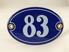 Emaille huisnummerbordje nr. 83, ovaal, blauw-wit Nr. 83 Blau-Weiß + Schrauben und Dübel