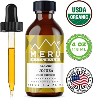 Meru Naturals Jojoba Essential Oil(4oz) for Face, Skin & Hair - Helps Promote Skin Health - USDA Certified Organic, Cold-Pressed & 100% Pure - Act as Makeup Remover, Cleanser, Moisturizer & Emollient