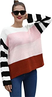 Hawiton Women Sweaters Ladies Pullover Casual Loose Knit Crew Neck Sweaters Striped Oversized Long Sleeve Sweater Tops