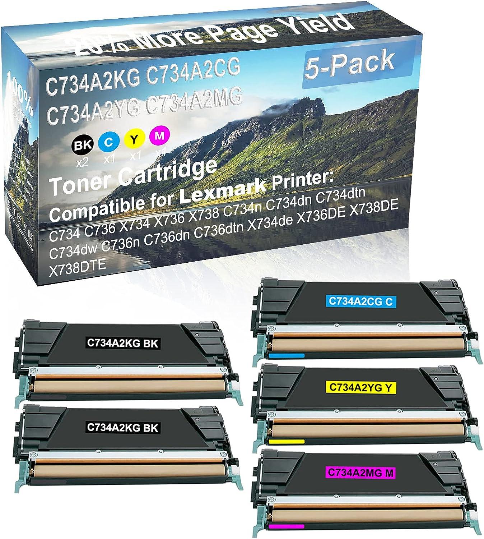 5-Pack (2BK+C+Y+M) Compatible C734dn, C734dtn, C734dw, C736n, C736dn Printer Toner Cartridge High Capacity Replacement for Lexmark C734A2KG+ C734A2CG+ C734A2YG+ C734A2MG Toner Cartridge