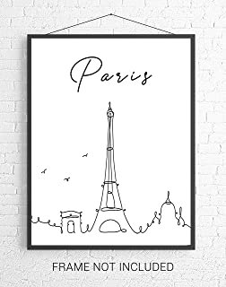 Paris City Skyline CityScape Wall Art - 11x14 UNFRAMED, Minimalist Line Art Black & White Decor Prints. A Perfect Gift for Any Paris Lover!