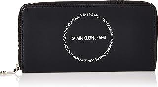 محفظة كبيرة الحجم بنقش منحوت وسحاب مستدير طويل من كالفن كلاين، لون اسود، 19 سم - K60K606166