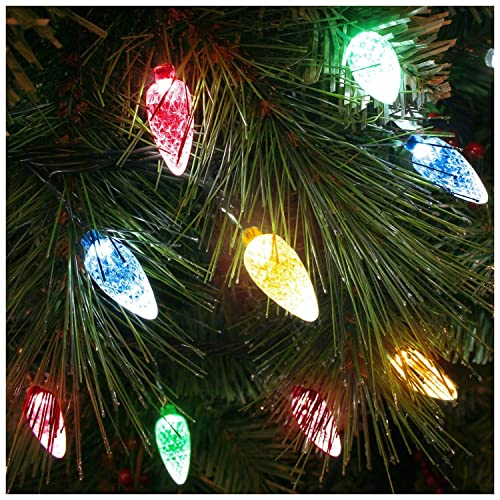 100x Multicoloured LED Faceted Cone Light Set - Indoor/Outdoor Christmas  Tree lights - 8264GM - Retro Christmas Lights: Amazon.co.uk