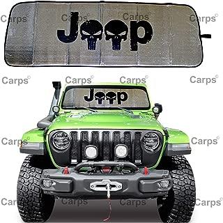 Carps 2018 2019 2020 JL - JLU Jeep Wrangler Windshield Sunshade Sun Shade Heat Shield Sun Visor Mat 2 Door & 4 Door