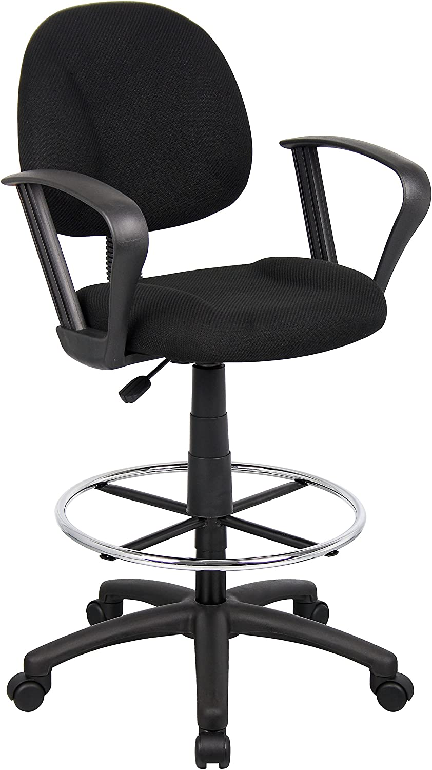 OCC Drafting Stool with Foot Ring and Loop Arms in Black Fabric Drafting Chair