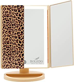 Lighted Makeup Mirror, Vanity Mirrors with Lights, 3X 2X 1X Magnifying, 36 LED Tri-Fold Mirror, Touch Screen Switch, Stand, Brightness Adjustable, Batteries or USB Charging, 180 Rotation, Leopard