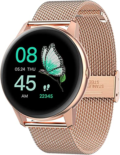 R3 Free strap Color Rose Gold Pink Touch screen Unisex Metal case Smartwatch with Heart rate Blood pressure monitoring upto 10 days active battery life