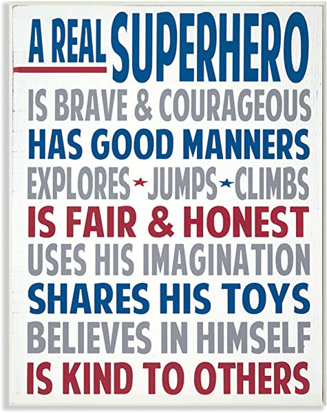 The Kids Room By Stupell Typography Art Wall Plaque A Real Superhero 11 X 0 5 X 15 Proudly Made In USA