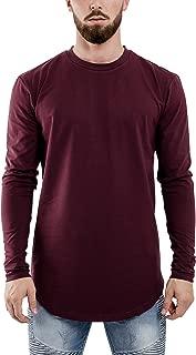 Blackskies Oversized Longline Longsleeve T-Shirt Mens Long-Sleeved Elongated Curved Tee with Side Zipper - S M L XL
