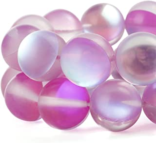 RUBYCA 6mm Round Moonstone Matte Crystal Glass Beads Aura for Jewelry Making Pink, 1 Strand