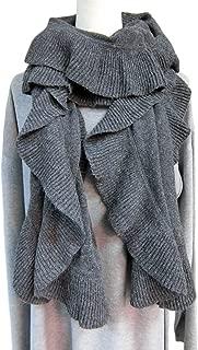 Winter Beautiful Warm Soft Wool Mix Knit Ruffle Scarf for Women