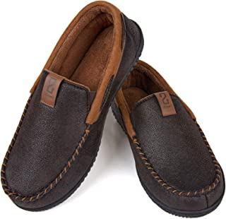 ZIZOR Men's Suede Moccasin Slippers, Cozy Memory Foam House Shoes with Anti Skid Rubber Sole