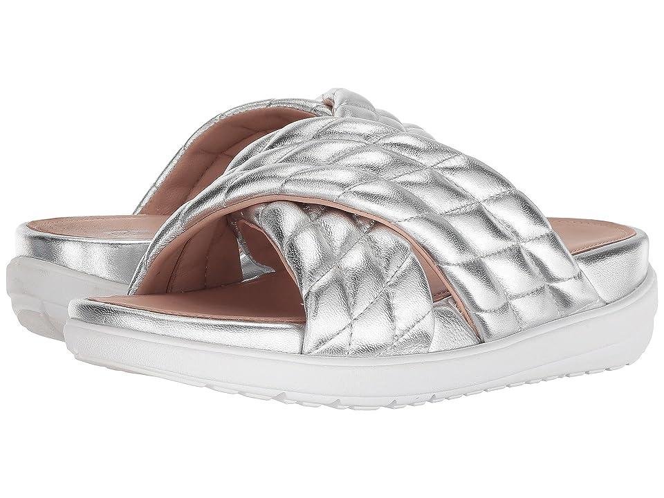 FitFlop Loosh Luxetm Cross Slide Leather Sandals (Silver Metallic Leather) Women