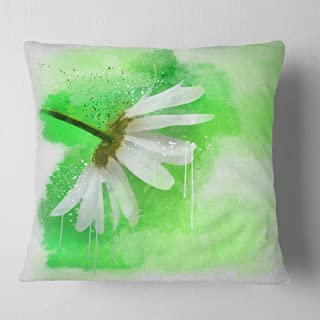 Designart White Chamomile with Green Splashes' Floral Throw Cushion Pillow Cover for Living Room, sofa 18 in. x 18 in