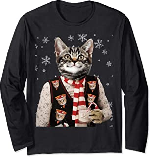 Ugly Sweater Party Hipster Cat Shirt Long Sleeve Tee