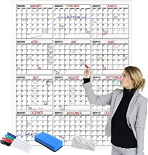 "$39 » Large Wall Calendar - 45"" X 60"" - Yearly Dry Erase Reusable Wall Planner - Giant Laminated Poster - Goal & Task Organizer ..."