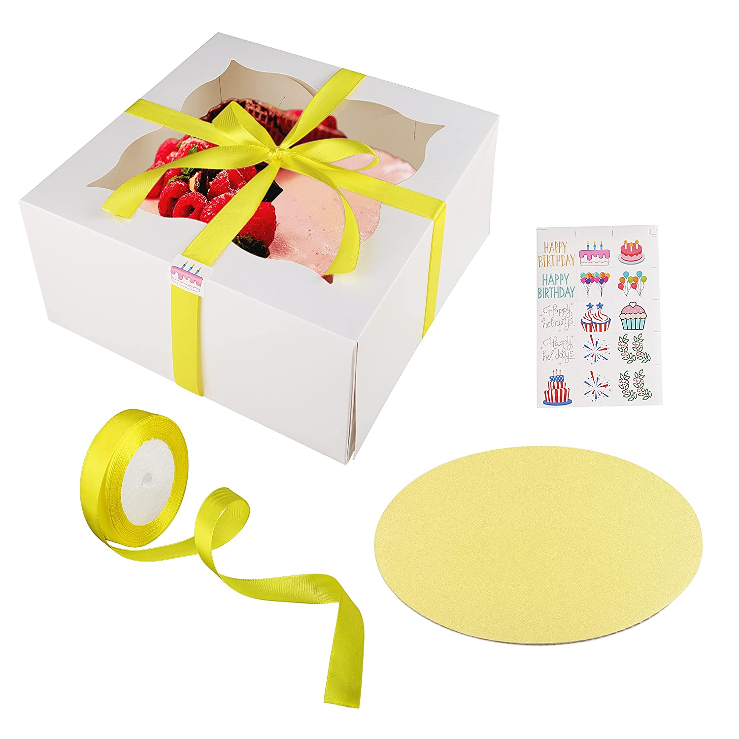 10 Pieces Cake Boxes with Cake Boards – 10