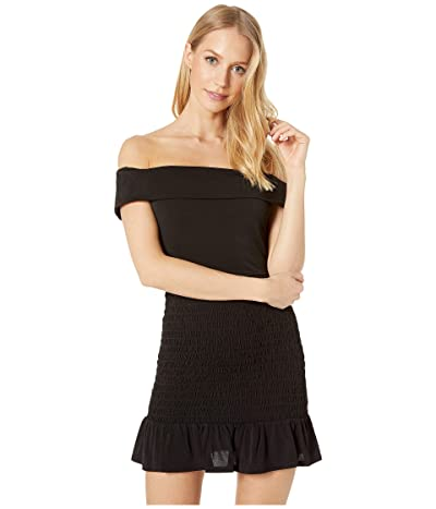 BCBGeneration Smocked Off Shoulder Dress YDM6206462 (Black) Women