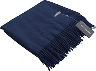 State Cashmere 100% Pure Cashmere Throw Blanket with Fringes Ultimately Soft and Warm (Navy, One Size)