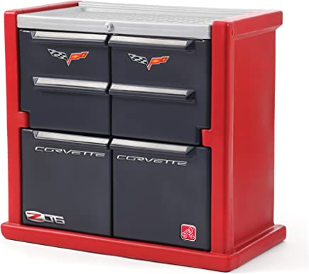 Step2 Corvette Dresser for Kids - Durable 4 Drawer Cabinet Organizer,  Red/Black/Silver