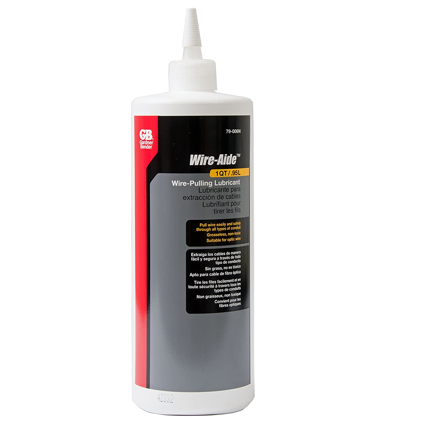 Gardner Bender 79-006N Wire-Aide Wire Pulling Lubricant, Greaseless Fiber-Optic Wire Insulation, 1 Qt. Squeeze Bottle, Yellow