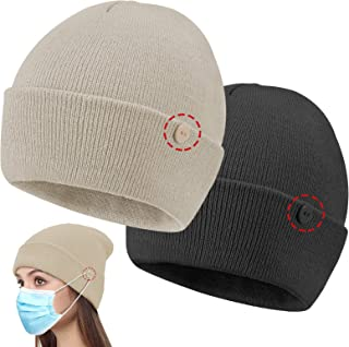 Senose Beanie for Men Women, Knit Hat with Button Skull Cap Winter Unisex, 2 Pack