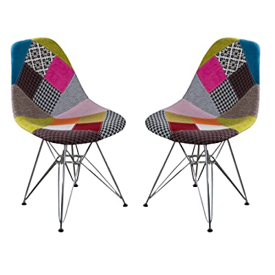 Amazon Com Christopher Knight Home Wilmette Fabric Chair With Chromed Legs Patchwork Chairs