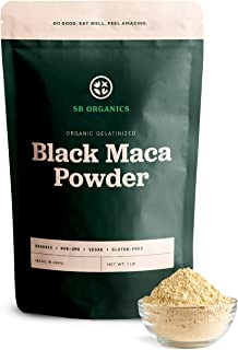 SB Organics Gelatinized Black Maca Powder - 1 lb Bag of Organic Non-GMO Vegan Peruvian Maca Root Powder - Free of Gluten, ...