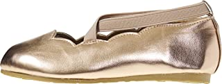 Toddler Girls Ballet Flats with Elastic Ankle Strap Scalloped Edges Mary Jane Sandals