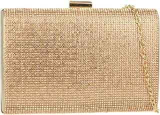 Girly Handbags Shimmer Satin Hard Case Clutch Bag Diamante