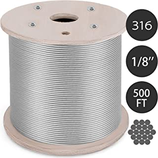 Mophorn T316 Stainless Steel Cable 1/8 Inch 1x19 Steel Wire Rope Cable 500Ft Cable Railing for Railing Decking Aircraft(1x19)