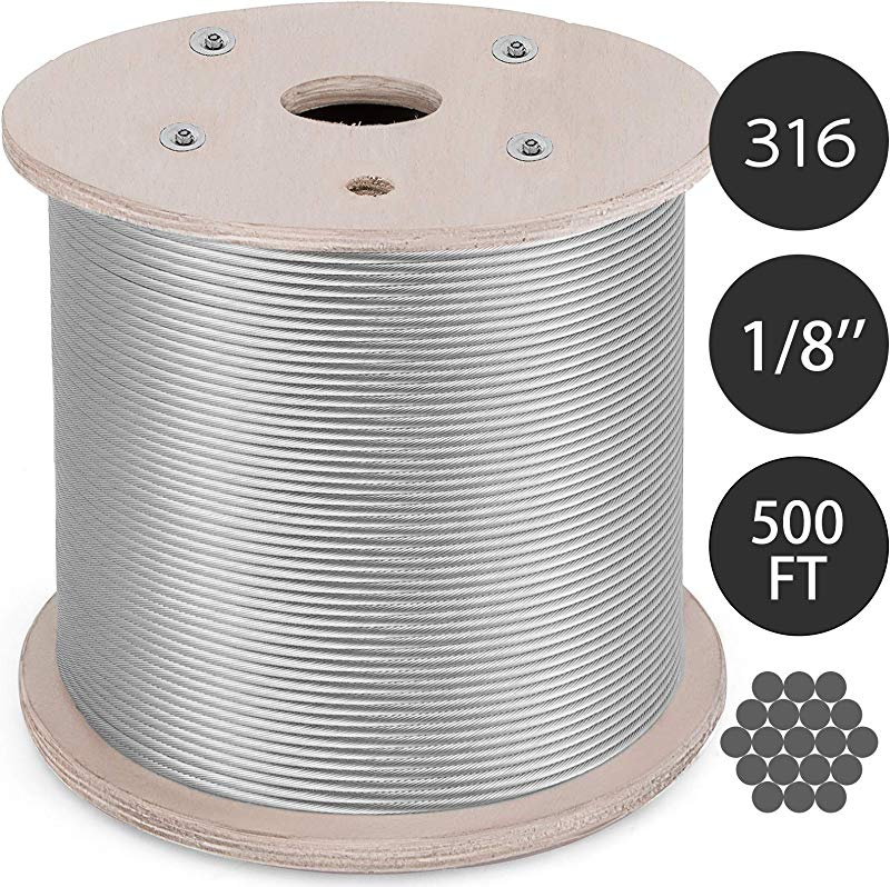 Mophorn T316 Stainless Steel Cable 0 125In 1x19 Steel Wire Rope Cable 500Ft Cable Railing For Railing Decking Aircraft 1x19