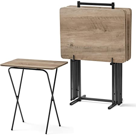 Hoobro Tv Trays Set Of 4 Tv Tables With Storage Rack Industrial Side Table For Eating At Couch Folding Snack Table For Small Space Easy Storage Easy Assembly Rustic Brown And