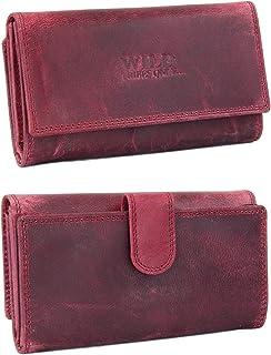 irisaa Damen Leder Wild Geldbörse, Portemonnaie Lang Geldbeutel,RFID Schutz 21 Kartenfächer, Brieftasche Groß, Vintage Des...