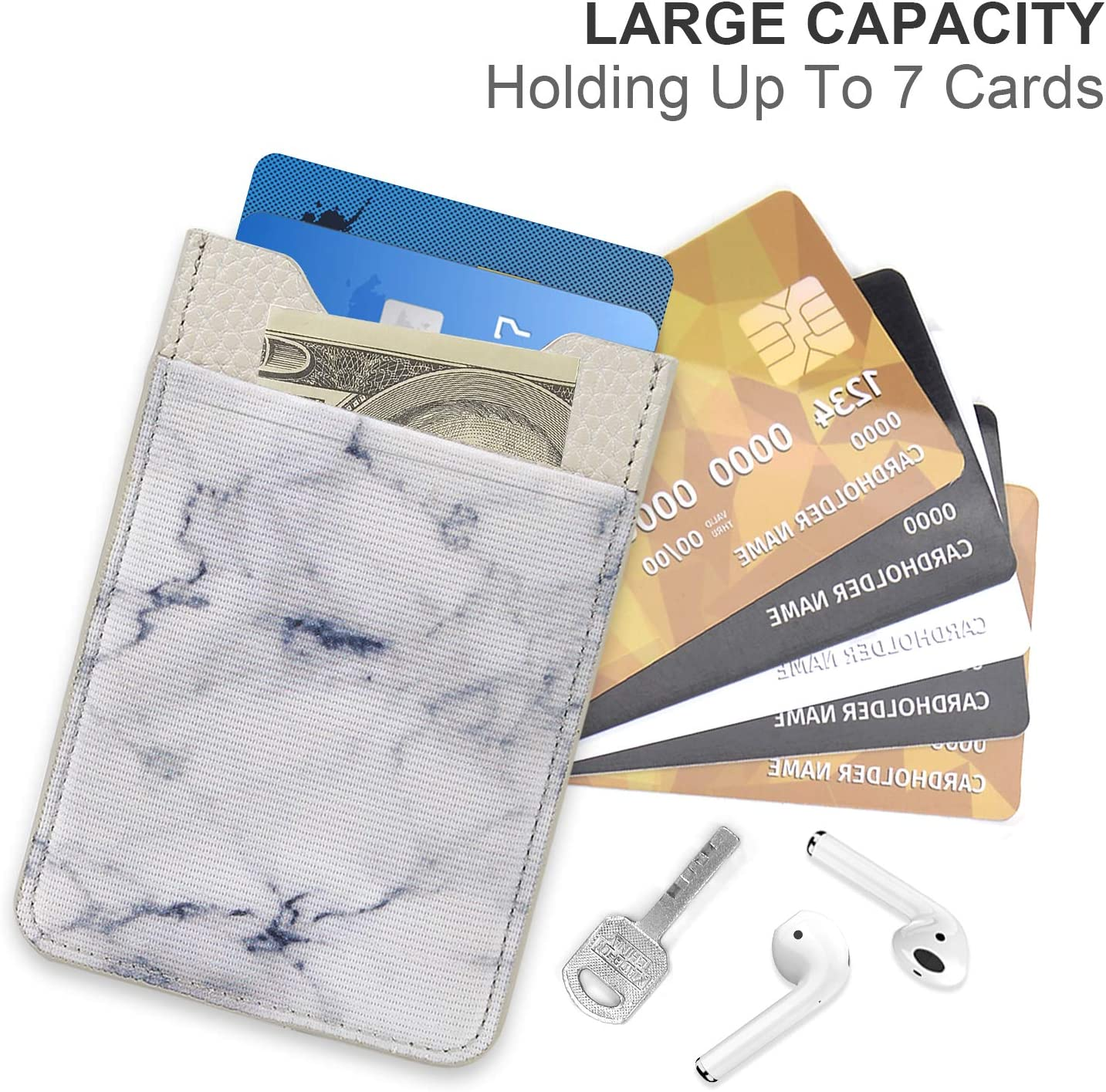 Stick on Wallet for Elastic Business Card Credit Card Holder Compatible with iPhone SHANSHUI Phone Card Holder Paisley// 2pcs All Most Smartphones