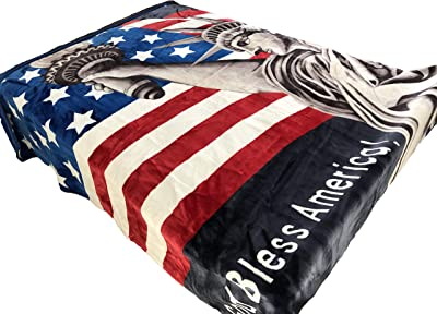 Original Heavy Mink Plush Korean Durable Blanket (American Flag Statue of Liberty, King)