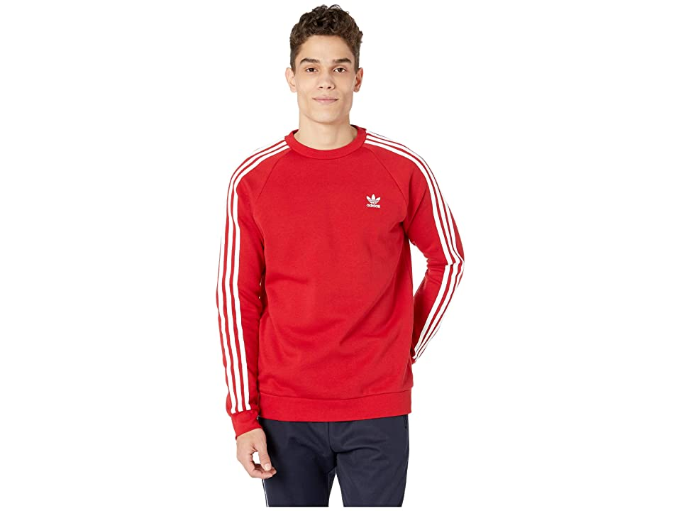 Image of adidas Originals 3-Stripes Crew (Power Red) Men's Short Sleeve Pullover