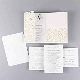 Ivory Wedding Invitations with Envelopes Elegant Lace Invitation with template Laser cut printable DIY Kit - PRE-PRINTED SAMPLE!