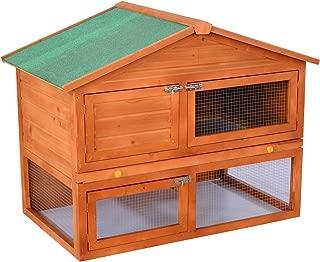 "PawHut 48"" Wooden Backyard Rabbit Small Animal Cage Starter Kit With Run"