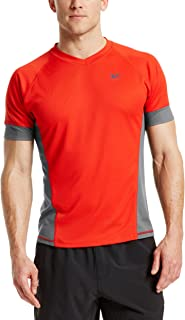 Mission Men's VaporActive Proton Short Sleeve Running T-Shirt, Fiery Red/Iron Gate, X-Large