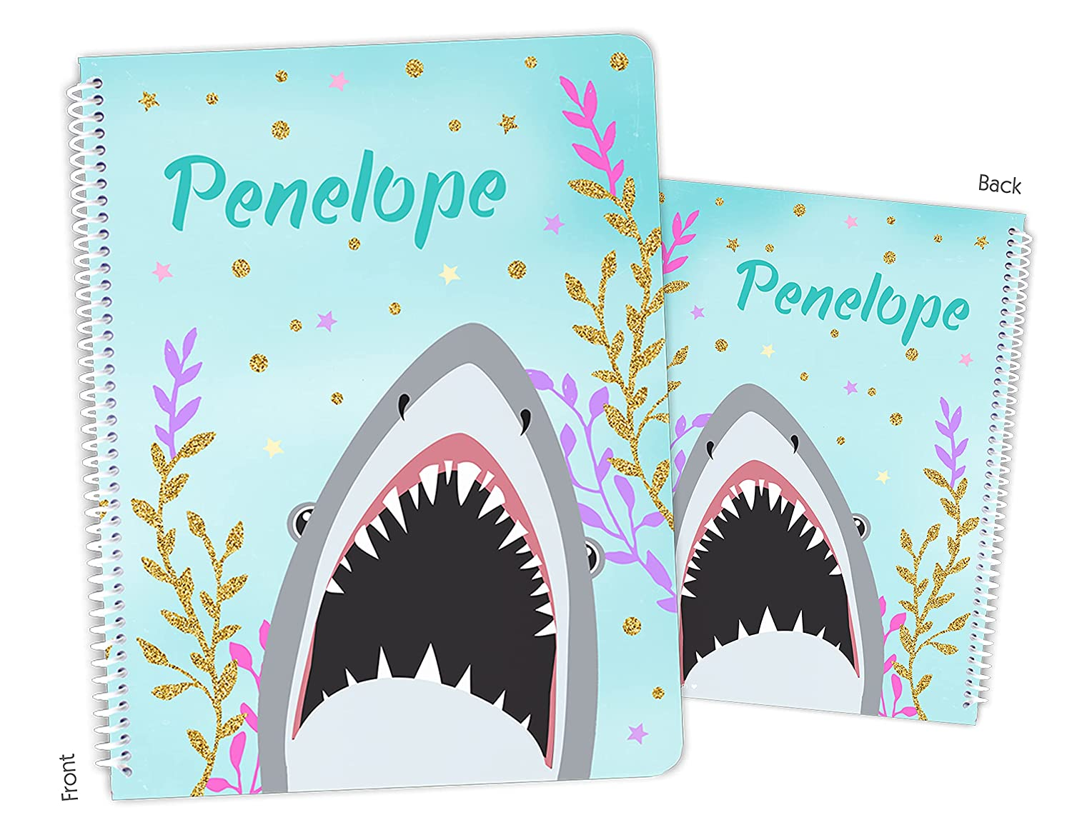 Personalized Shark Deluxe Detroit Mall Spiral Notebook Sketchbook Bound