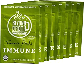 Beyond Broth - Instant Vegan Sipping Broth (Immune, 9 Pack) - Organic Vegetable Broth Powder For On The Go Or Cooking - Keto, Paleo, and Whole30 Friendly
