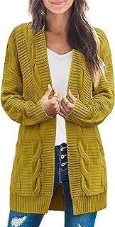 Chriselda - Suéter de Punto Blanco para Mujer, Casual, Suelto, de Manga Larga, con Frente Abierto, para Mujer